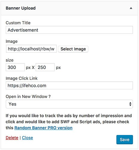 Banner Upload Widget View