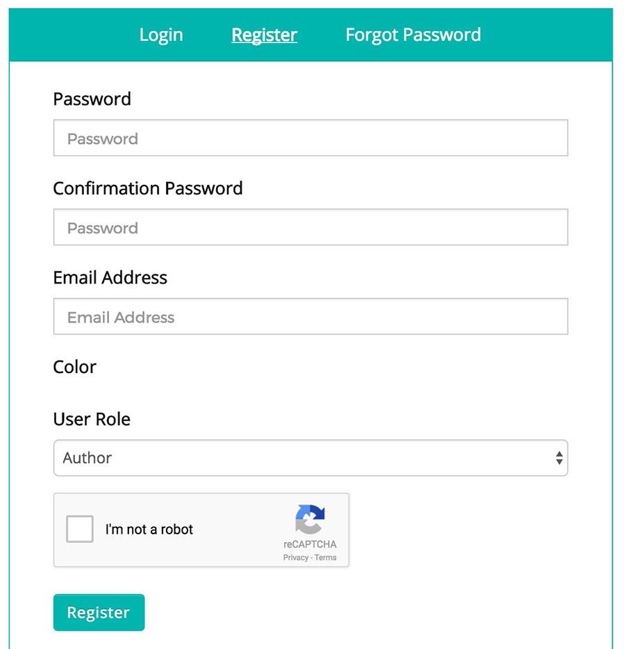 Frontend Dashboard Register Captcha