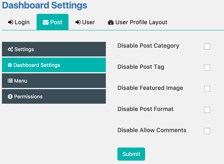 Post Dashboard Settings