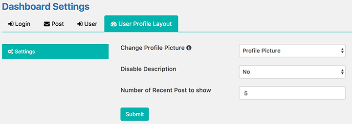 User Profile Layout Settings