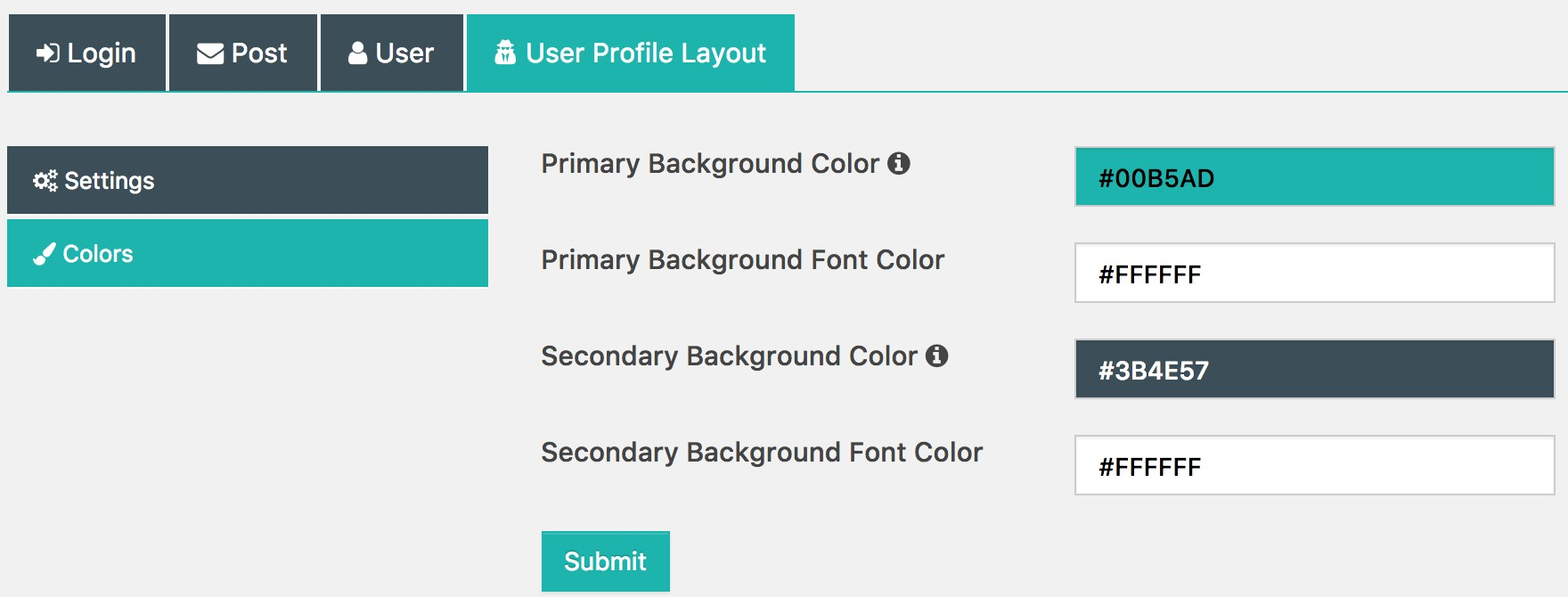 User Profile Layout Color