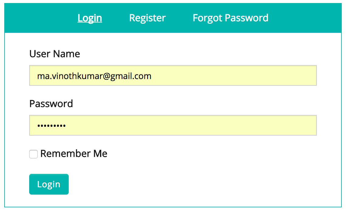 Custom Login, Register and Forgot Password