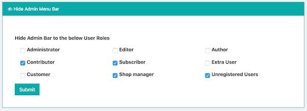 How to hide admin menu bar in Frontend Dashboard
