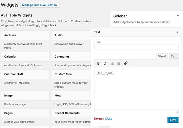How to set Widget  for Frontend Dashboard WordPress plugin
